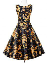 Vintage Swing Sleeveless Printed Dress - COLORMIX 2XL