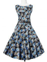 Leaves Print Sleeveless A Line Vintage Dress