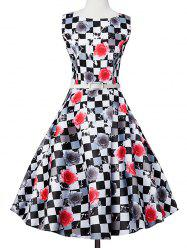 Plaid Floral Sleeveless Vintage Dress