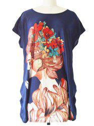 Ruched Loose-Fitting Figure Print T-Shirt -