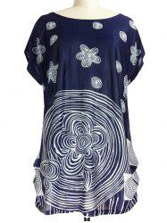 Ruched Abstract Floral Print T-Shirt -