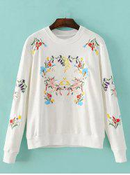 Floral Embroidery Crew Neck Sweatshirt -