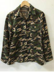 Camo Print Button Design Shirt -