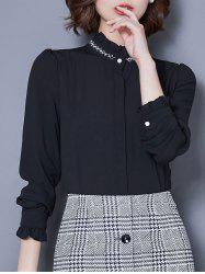 Ruffled Collar Beaded Long Sleeve Chiffon Shirt