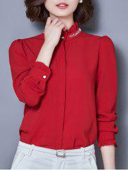 Beaded Long Sleeve Chiffon Formal Shirt