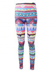 Geometric Colorful Print Christmas Leggings - COLORFUL