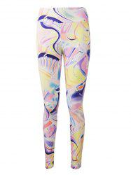 Active Graffiti Colorful Print Leggings -
