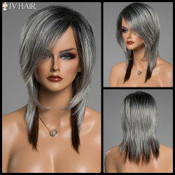 Assorted Color Medium Straight Human Hair Side Bang Siv Hair Capless Wig