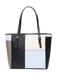 Buckles PU Leather Color Splicing Shoulder Bag - LIGHT BLUE