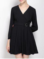 3/4 Sleeves High Waist Black Surplice Dress