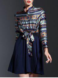 Ethnic Print Spliced Tied-Up Dress -