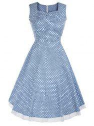 Vintage Style Polka Dot Swing Dress - LIGHT BLUE S