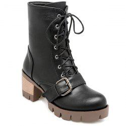 Chunky Heel Lace-Up Buckle Combat Boots