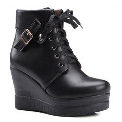Lace-Up Buckle Wedge Heel Short Boots