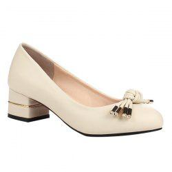 Chunky Heel Bow Round Toe Pumps