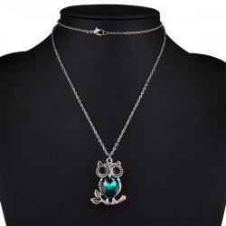 Owl Rhinestone Sweater Chain - BLACKISH GREEN