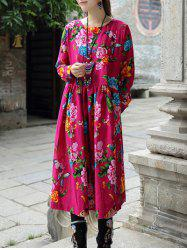 Loose Fitting Floral Pattern Ruffled Dress