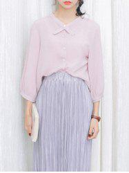 Loose-Fitting Puff Sleeves Bowtie Collar Blouse -