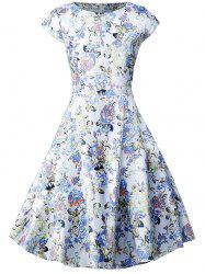 Floral Short Sleeve A Line Dress