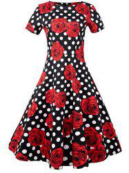 Floral Polka Dot A Line Vintage Dress - BLACK AND WHITE AND RED XL