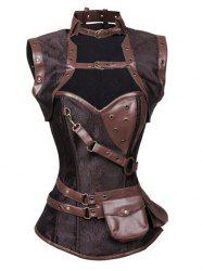 Buckled Pocket Desige Strappy Corset - DEEP BROWN