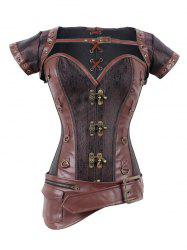 Asymmetric Buckled Zipper Design Corset - DEEP BROWN
