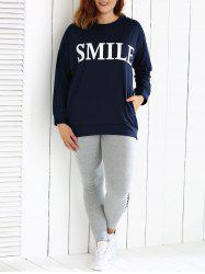Oversized Loose Fitting Sweatshirt and Letter Print Leggings