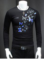 Round Neck Long Sleeve Butterfly Printed T-Shirt