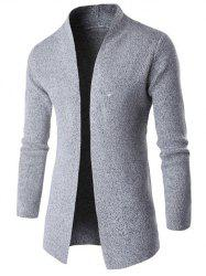 Side Slit Collarless Long Sleeves Computer Knitted Cardigan