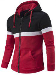 Zipper-Up Color Block Hoodie - RED 2XL