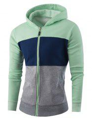 Zipper-Up Color Block Striped Hoodie -