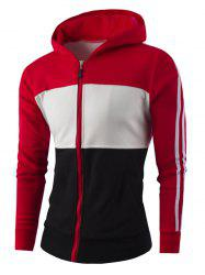 Zipper-Up Color Block Striped Hoodie