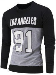 Letter and Number Print Color Block Sweatshirt - BLACK 3XL