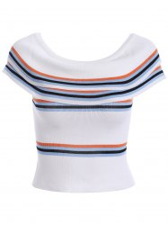 Skinny Off-The-Shoulder Overlay Knitted Blouse -