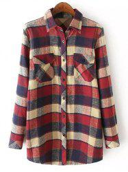 Casual Pocket Tartan Pattern Long Sleeve Shirt