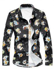 Plus Size 3D Cake Print Turn-Down Collar Long Sleeve Shirt -
