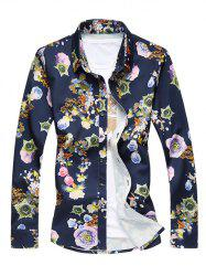 Plus Size 3D Flower Print Turn-Down Collar Long Sleeve Shirt