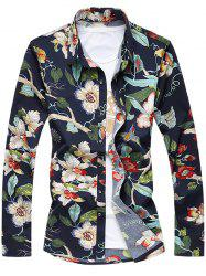 Plus Size 3D Flowers Print Turn-Down Collar Long Sleeve Shirt