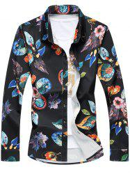 Plus Size 3D Leaves Print Turn-Down Collar Long Sleeve Shirt