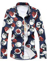 Plus Size 3D Roses Print Turn-Down Collar Long Sleeve Shirt -
