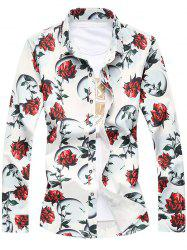 Plus Size 3D Roses Print Turn-Down Collar Long Sleeve Shirt