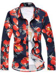Plus Size 3D Florals Print Turn-Down Collar Long Sleeve Shirt -