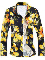 Plus Size 3D Florals Print Turn-Down Collar Long Sleeve Shirt - YELLOW