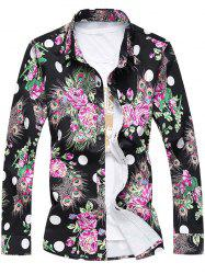 Plus Size 3D Roses and Peacock Feathers Print Turn-Down Collar Long Sleeve Shirt -
