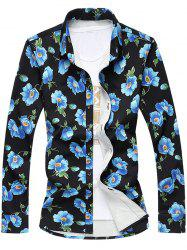 Plus Size 3D Flowers Printed Turn-Down Collar Long Sleeve Shirt