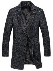 Plus Size Coat Lapel Single-breasted Cotton Blends à manches longues en laine - Blanc Et Noir
