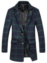 Plus Size Lapel Single-Breasted Tartan Long Sleeve Woolen Coat - GREEN