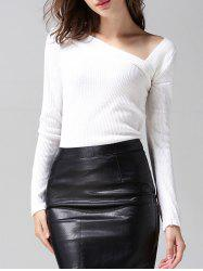 Skew Collar Long Sleeves Sweater