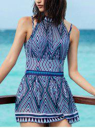 Backless Print One-Piece Swimwear -