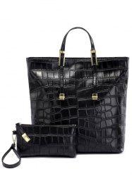 Crocodile Embossed Buckle Metal Tote Bag